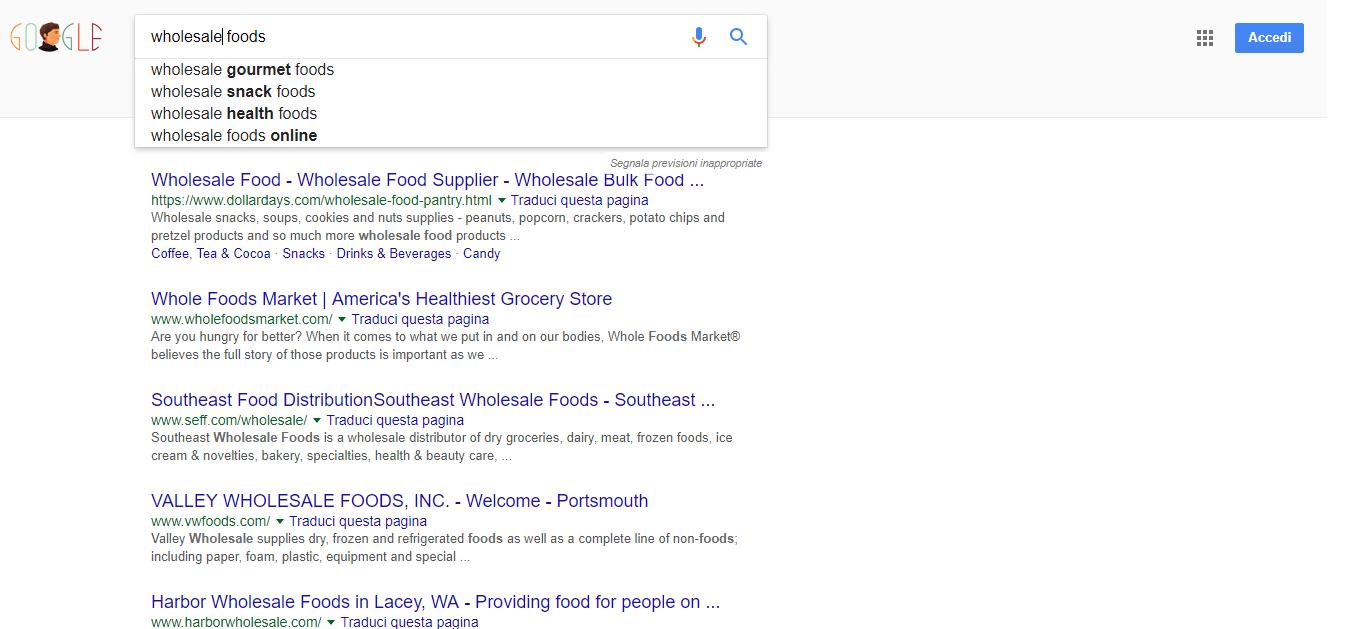 ricerche grossista alimentare online nel mercato globale